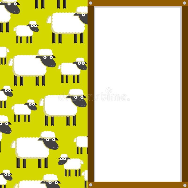 Download Leuk Beeldverhaal Sheeps En Witte Raad Met Ruimte Stock Illustratie - Illustratie bestaande uit grappig, pictogram: 39104628
