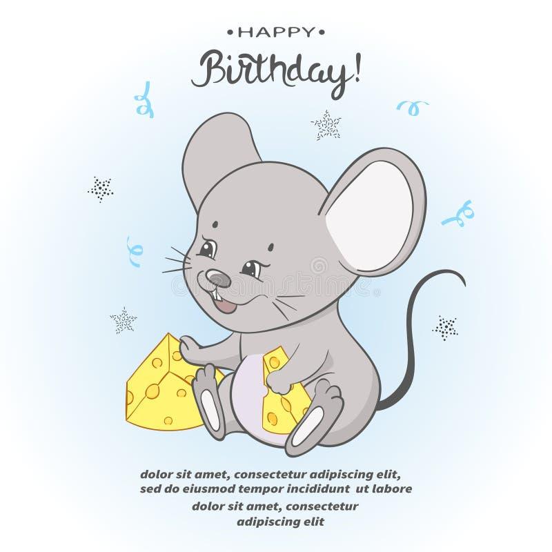 Leuk beeldverhaal weinig muis met kaas De kaart van de verjaardag stock illustratie