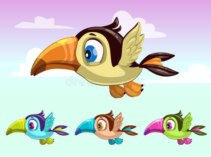 Leuk beeldverhaal weinig vliegende vogel Toekanionen royalty-vrije illustratie