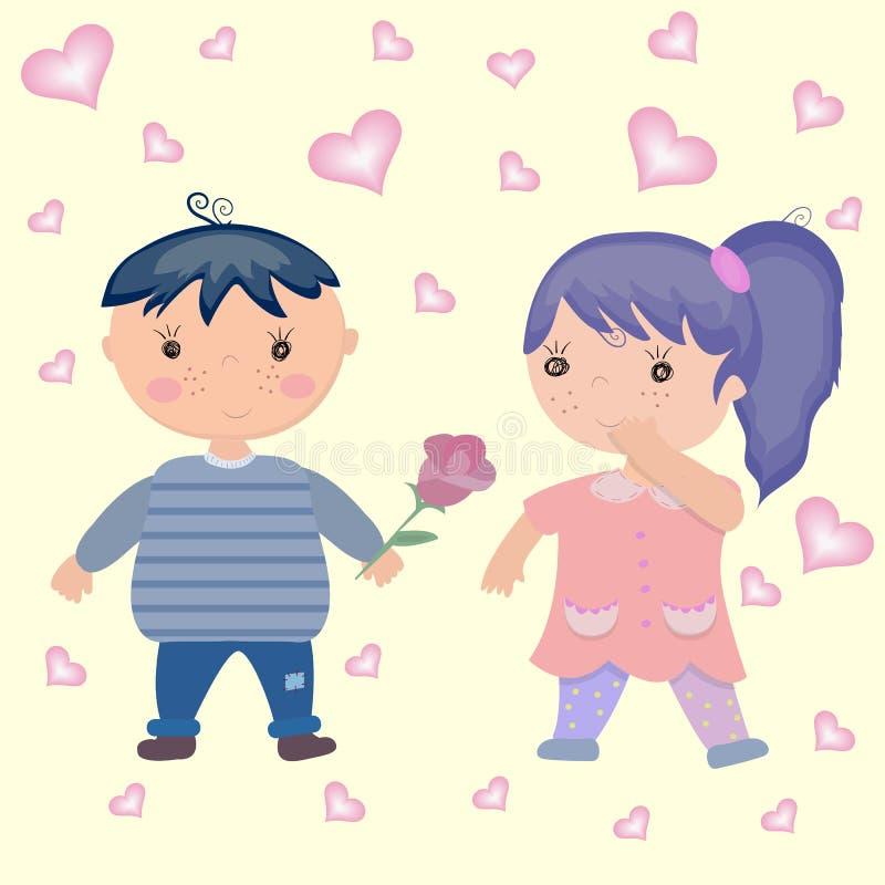 Leuk beeldverhaaljongen en meisje in liefde stock illustratie