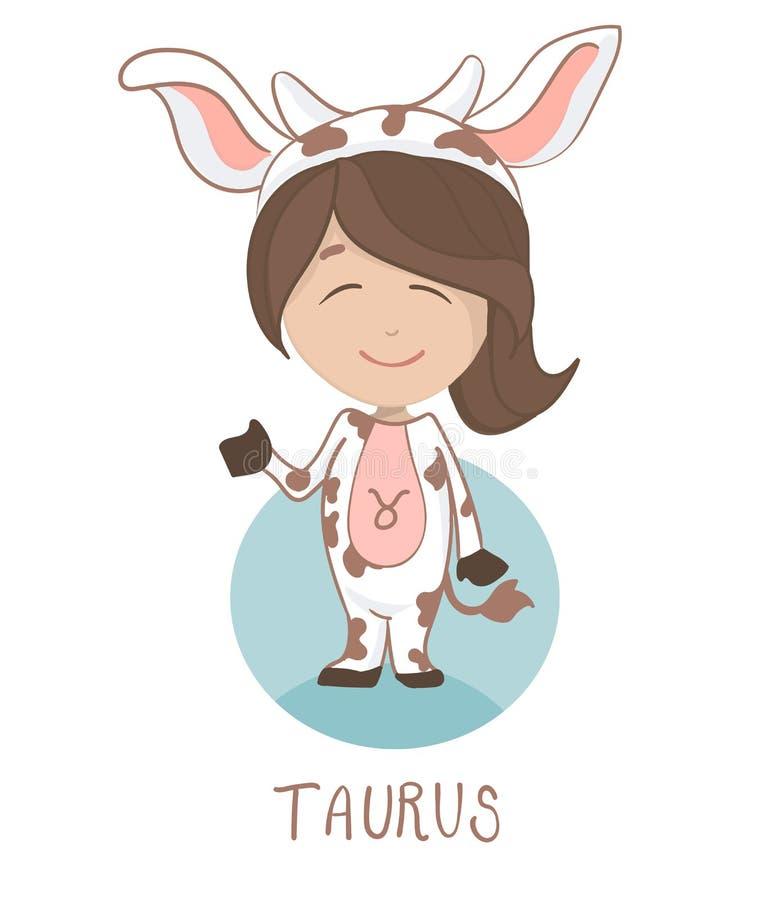 Leuk beeldverhaalkarakter Het pictogram van de kinderenhoroscoop, grappig meisje in een koekostuum als taurus stock illustratie