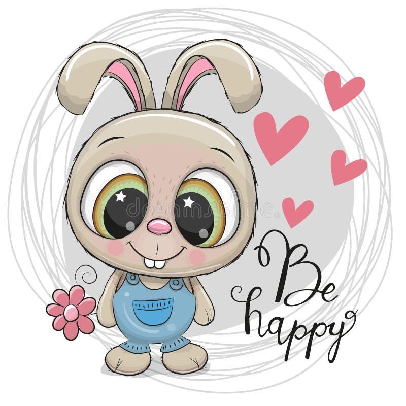 Leuk beeldverhaalkonijn met bloem vector illustratie