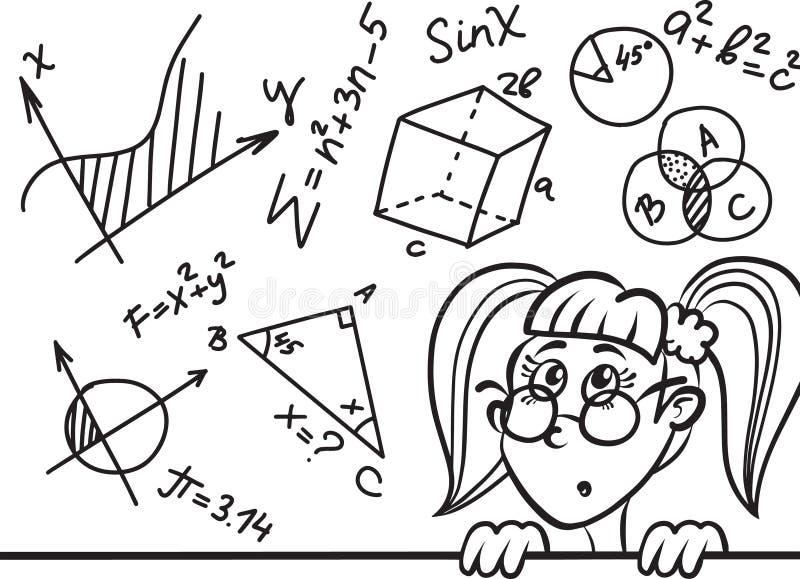 Leuk beeldverhaalmeisje en wiskunde en meetkundeformules en problemen aangaande bord onderwijs vectorillustratie vector illustratie