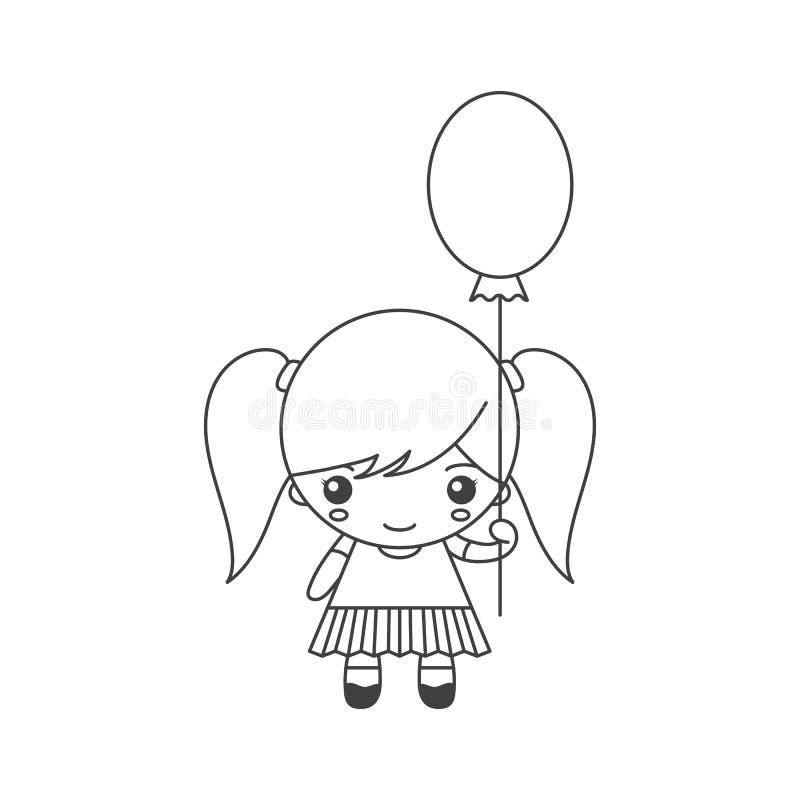 Leuk beeldverhaalmeisje met ballon vector illustratie