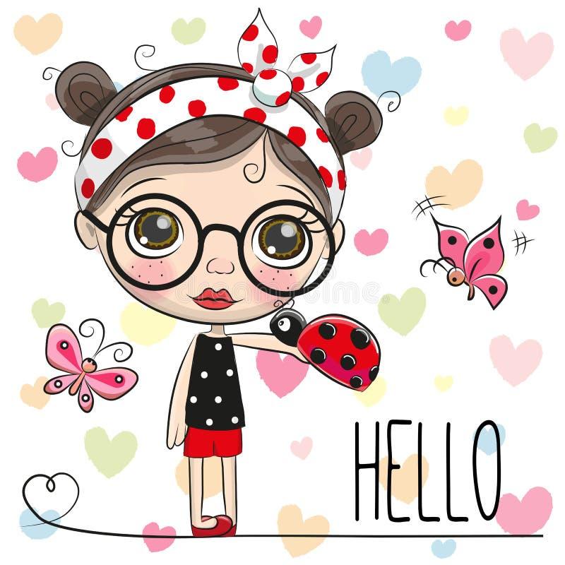 Leuk Beeldverhaalmeisje met een lieveheersbeestje royalty-vrije illustratie
