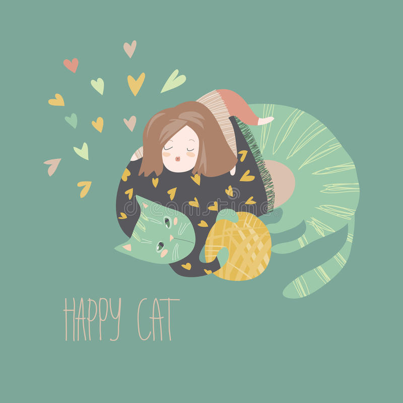Leuk beeldverhaalmeisje met haar speelse kat royalty-vrije illustratie