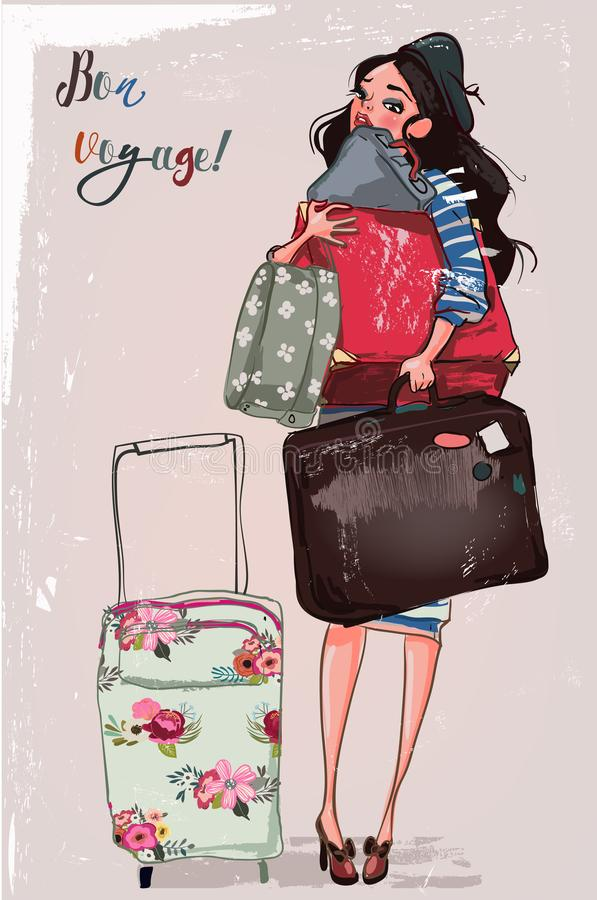 Leuk beeldverhaalmeisje met zakken vector illustratie