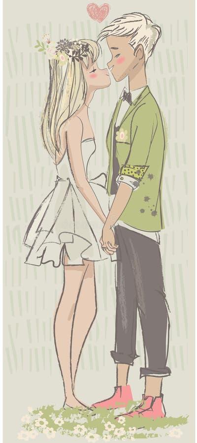 Leuk beeldverhaalpaar in liefde vector illustratie