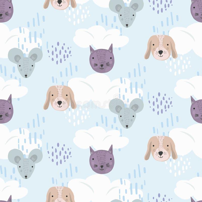 Leuk beeldverhaalpatroon met katten, honden en muizen stock illustratie