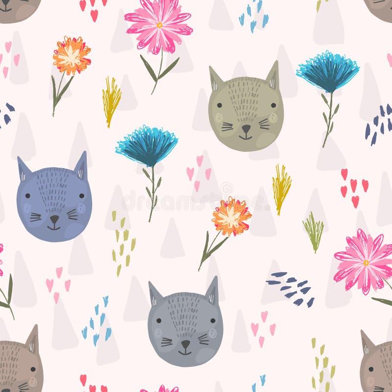 Leuk beeldverhaalpatroon met kattenhoofden en bloemen stock illustratie