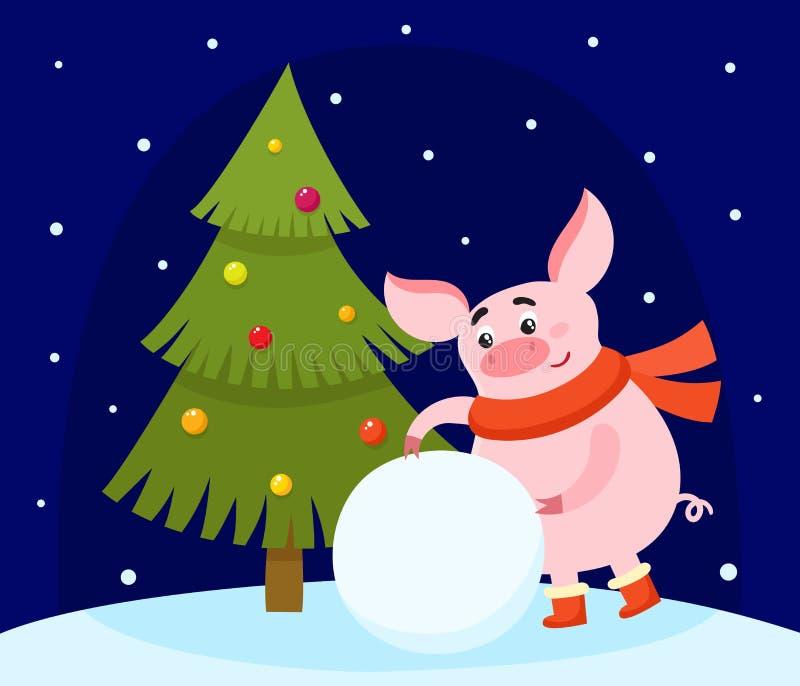Leuk beeldverhaalvarken die sneeuwbal en Kerstmisboom maken stock illustratie