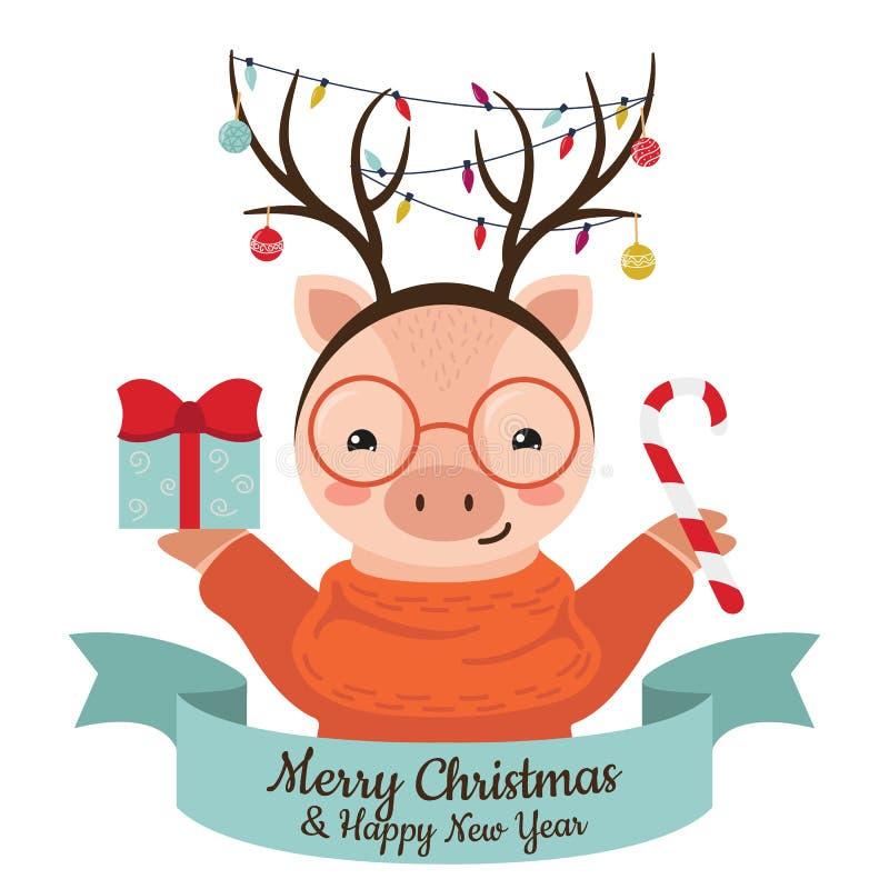 Leuk beeldverhaalvarken met rendierenhoornen, slingers en Kerstmisballen royalty-vrije illustratie