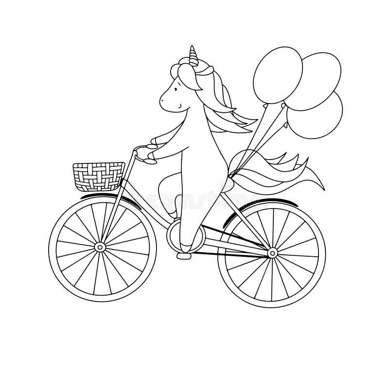 Leuk berijdt weinig eenhoorn een fiets met ballons Hand getrokken zwart-witte vectorillustratie voor het kleuren van boek vector illustratie