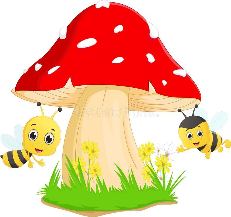 Leuk bijenbeeldverhaal met rode paddestoel royalty-vrije illustratie