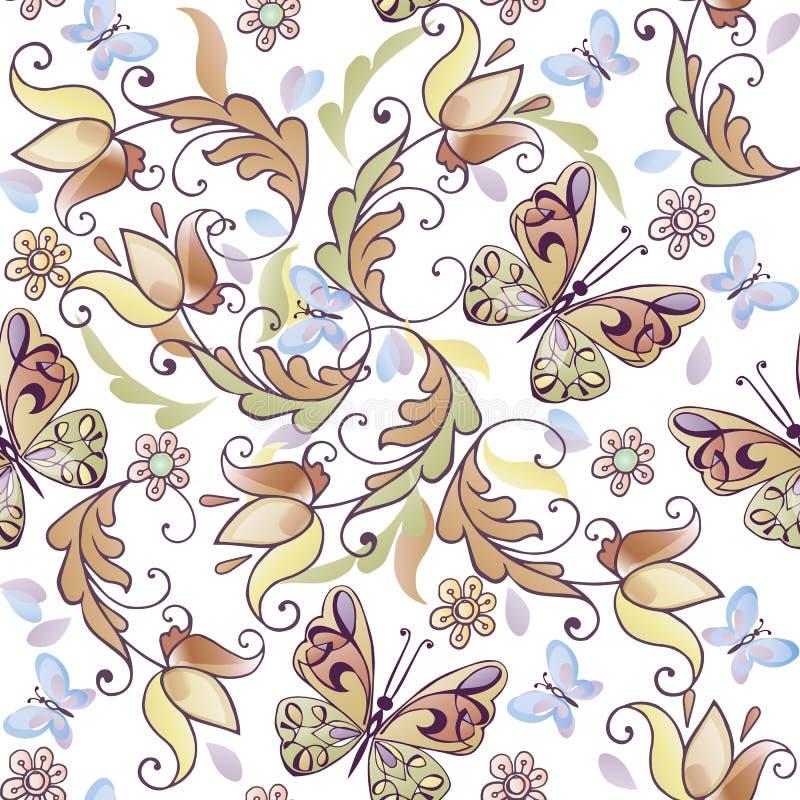 Leuk bloemen naadloos patroon met blauwe vlinders Vector bloemenachtergrond voor groetkaarten, uitnodigingen stock illustratie