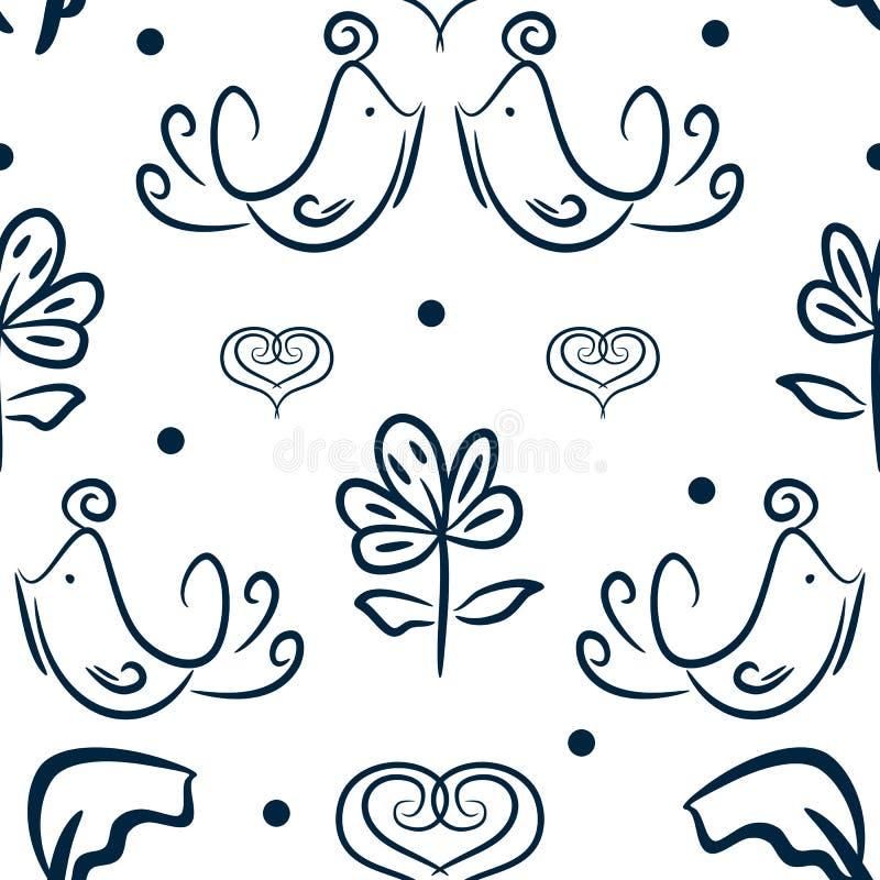 Leuk bloemen naadloos patroon met met de hand getrokken vogels, bloemen en harten Schets, Krabbel vector illustratie
