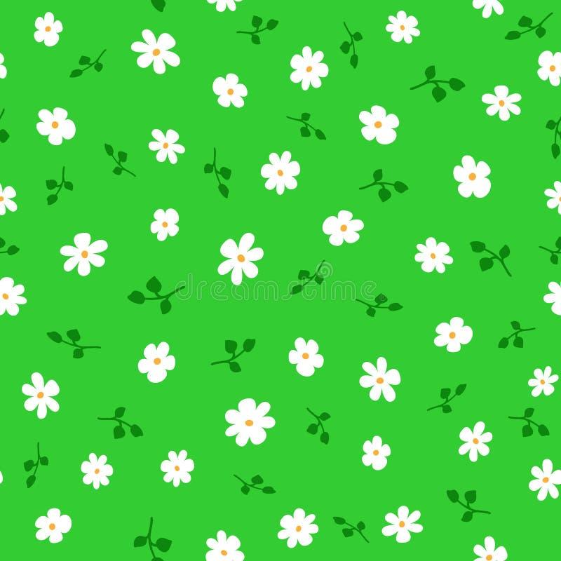 Leuk bloemen naadloos patroon met madeliefjes en bladeren Eindeloze druk met bloemen vector illustratie
