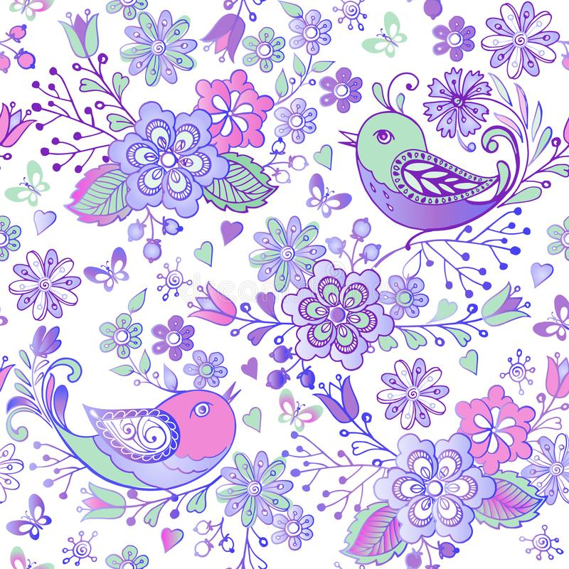 Leuk bloemen naadloos patroon met roze en blauwe vogels en harten Decoratieve ornamentachtergrond voor stof, textiel, verpakkend  stock illustratie