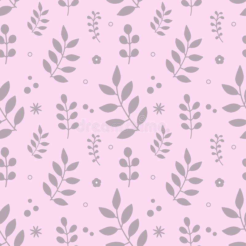 Leuk bloemen naadloos patroon Takken op roze achtergrond stock illustratie
