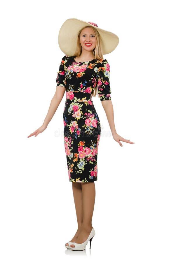 Leuk blondemeisje in bloemendiekleding op wit wordt geïsoleerd royalty-vrije stock foto