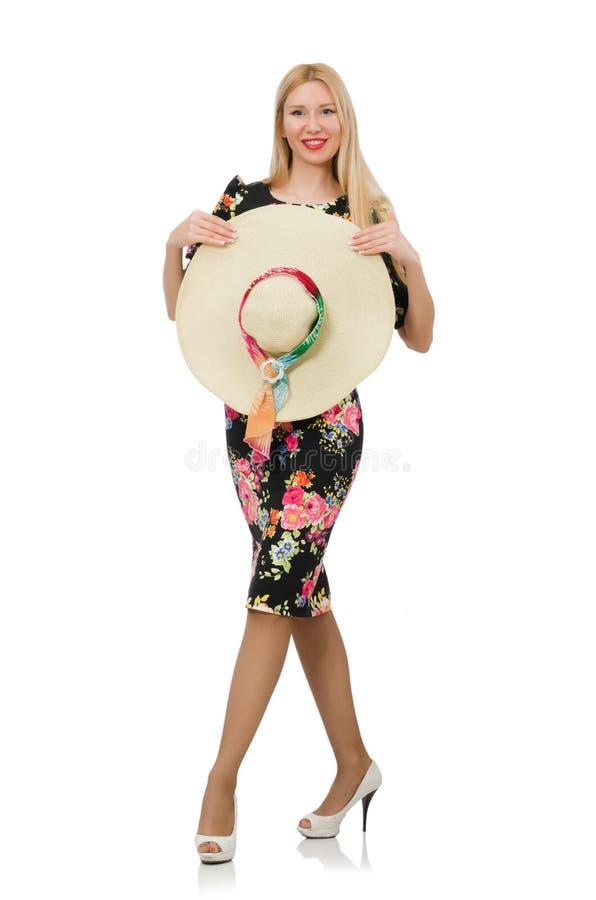 Leuk blondemeisje in bloemendiekleding op wordt geïsoleerd stock afbeelding
