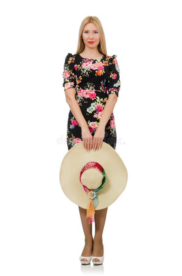 Leuk blondemeisje in bloemendiekleding op wordt geïsoleerd royalty-vrije stock fotografie