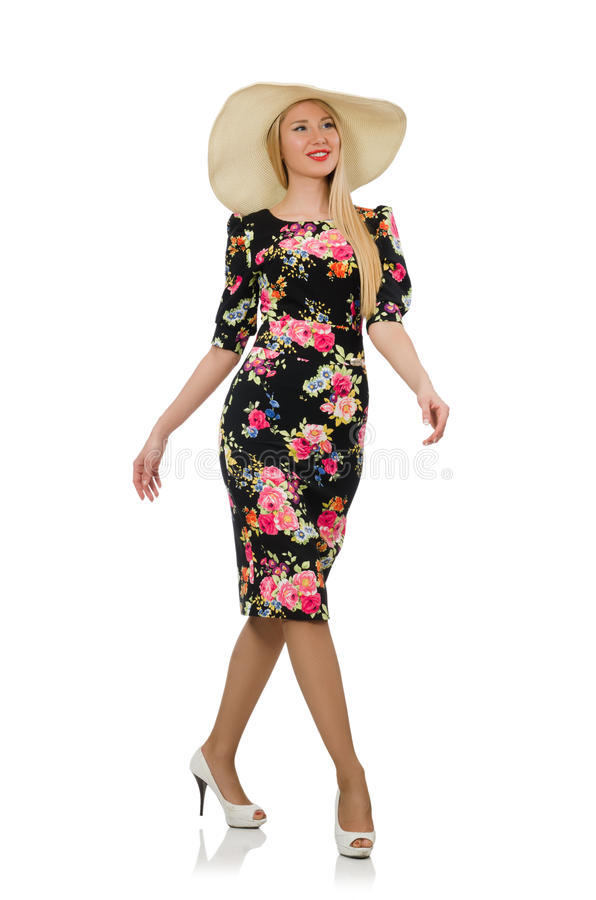 Leuk blondemeisje in bloemenkleding royalty-vrije stock foto's