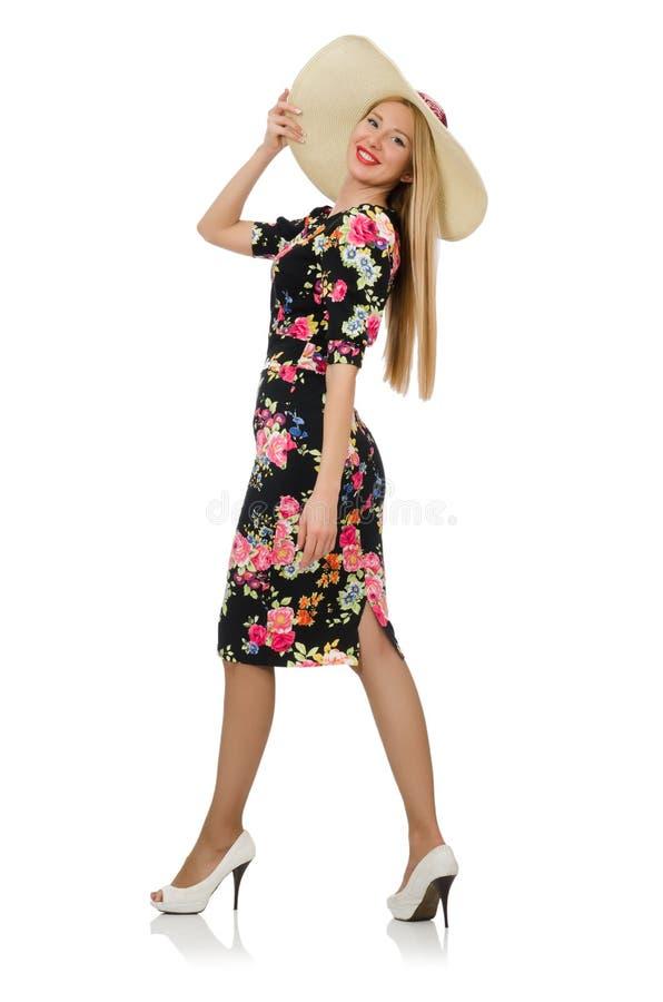 Leuk blondemeisje in bloemenkleding stock afbeeldingen