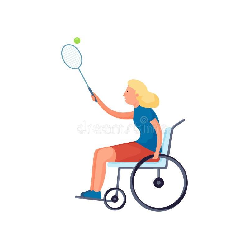 Leuk blondemeisje met handicap in rolstoel speltennis vector illustratie