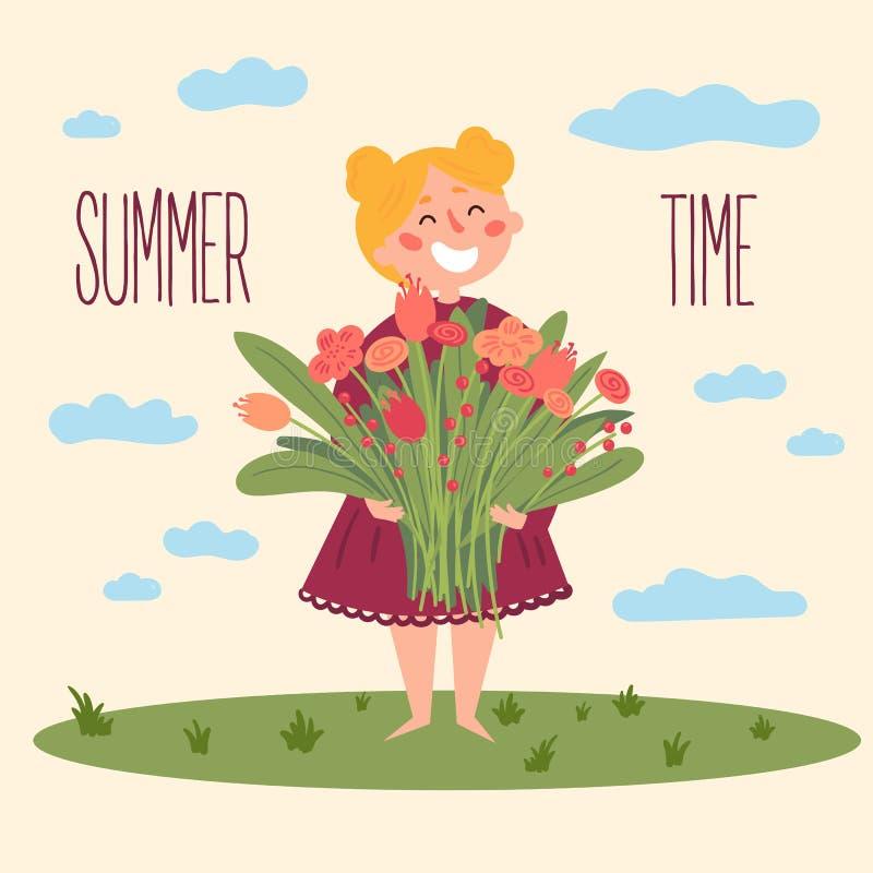 Leuk blootvoets meisje met bloemen Jonge volwassenen stock illustratie