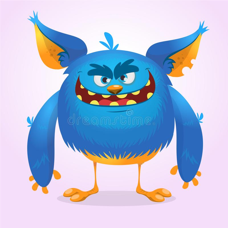 Leuk bont blauw monster Vector Ontwerp voor kinderenboek, vakantiedecoratie, stickers royalty-vrije illustratie