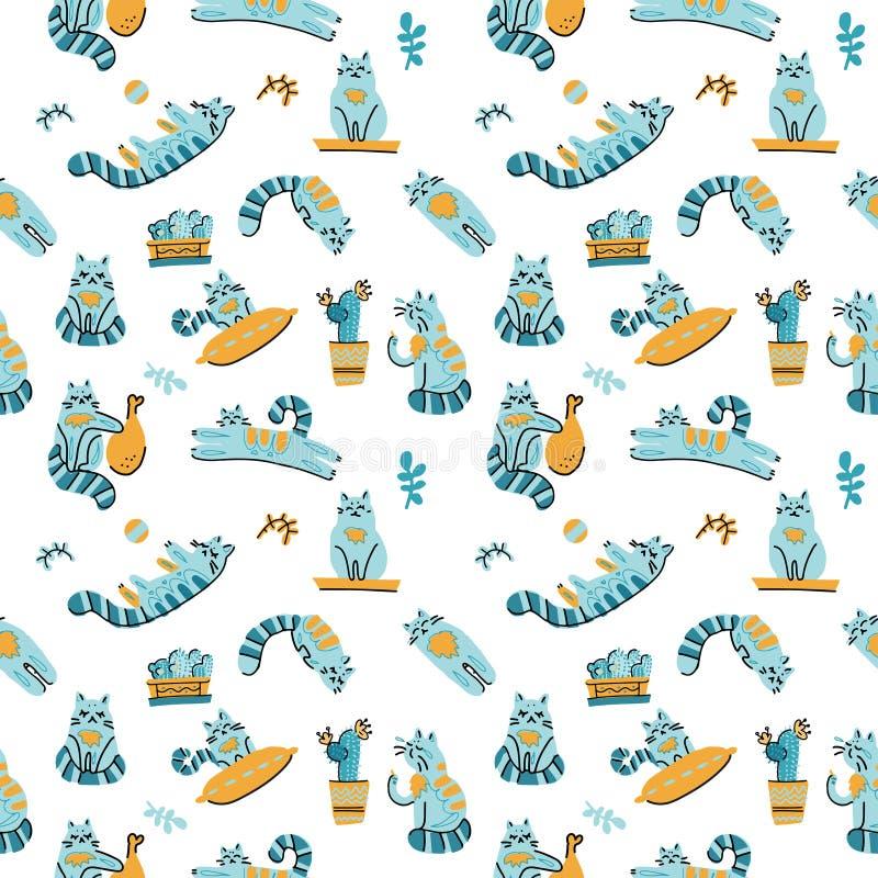 Leuk cactus en kattenbeeldverhaal naadloos patroon op witte achtergrond Kleurrijke moderne illustratie in eenvoudige hand getrokk stock illustratie