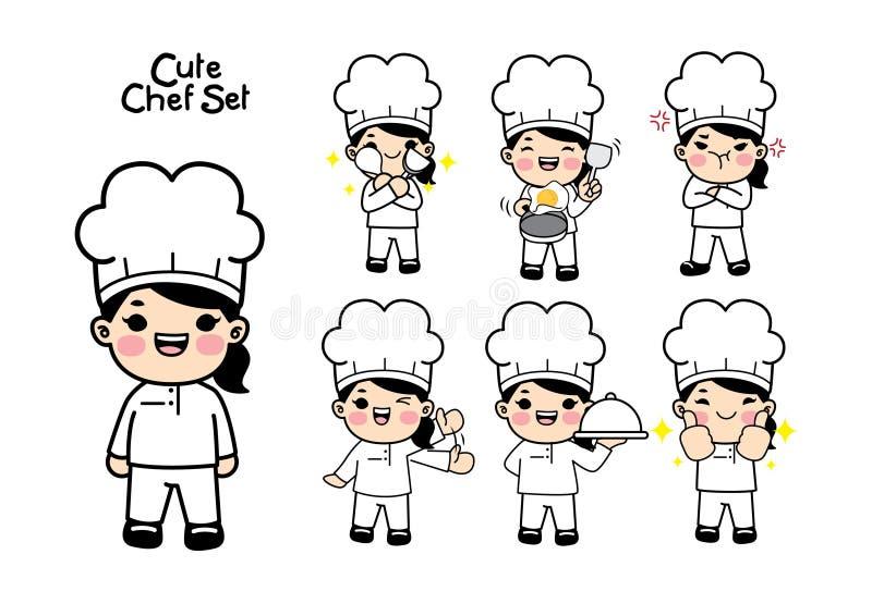 Leuk chef-kokkarakter - reeks Vecterelement stock illustratie
