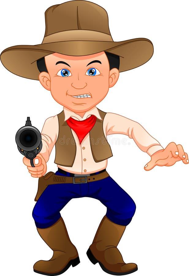 Leuk cowboyjong geitje met kanon stock illustratie