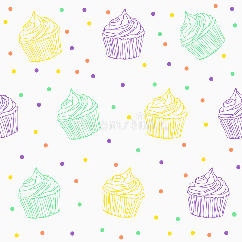 Leuk cupcakepatroon vector illustratie
