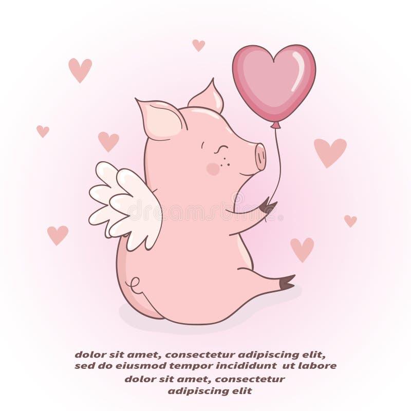Leuk Cupidovarken met hart gevormde ballon Rood nam toe vector illustratie