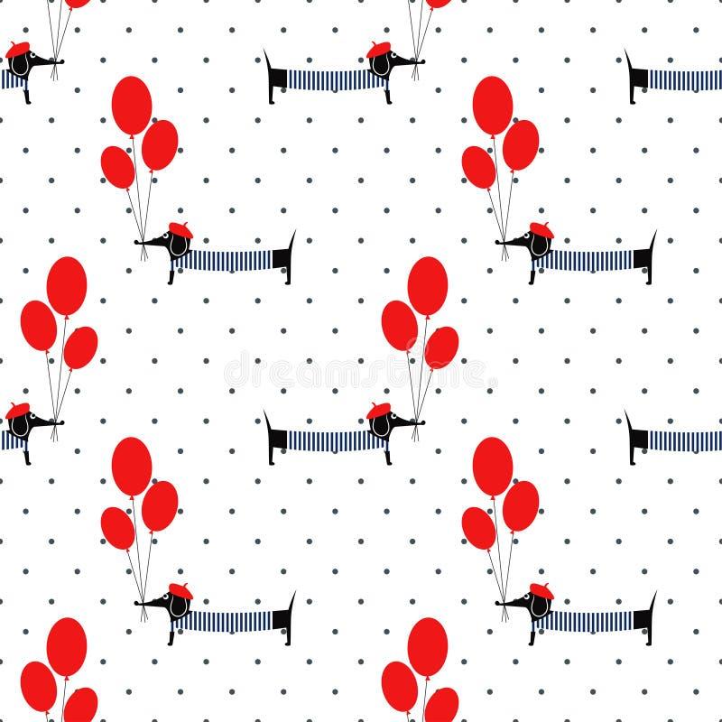 Leuk de ballons naadloos patroon van de hondholding op stippenachtergrond royalty-vrije illustratie