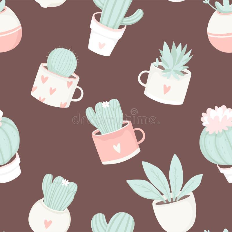 Leuk de cactus naadloos patroon van het de zomerthema stock illustratie