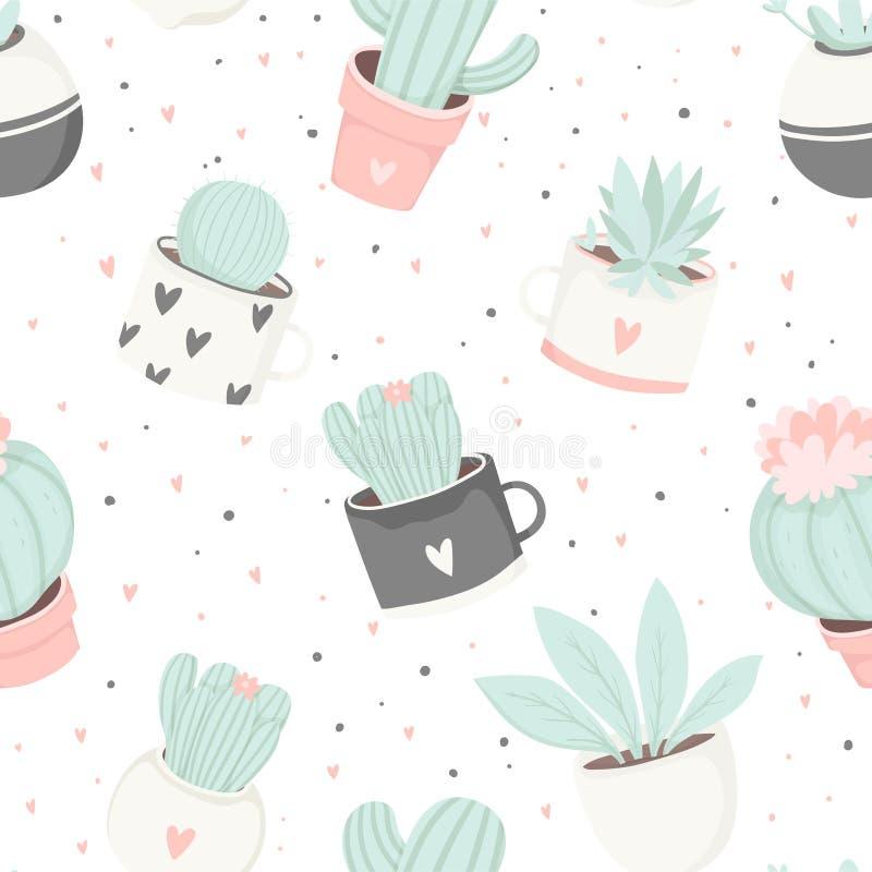 Leuk de cactus naadloos patroon van het de zomerthema royalty-vrije illustratie
