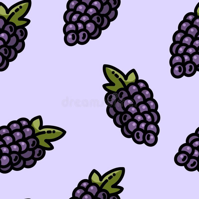 Leuk de druiven naadloos patroon van de beeldverhaal vlak stijl vector illustratie
