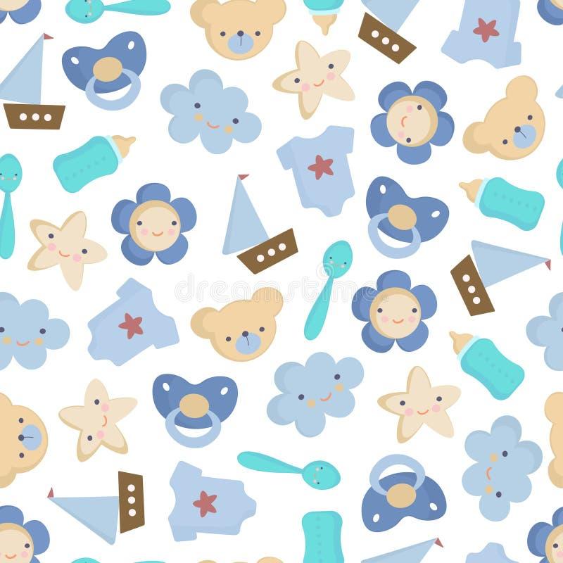Leuk de elementen Vector naadloos patroon van de Babyjongen royalty-vrije stock foto's