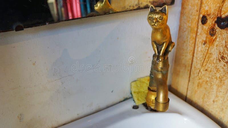 Leuk de gootsteenontwerp van de kattenwaterpijp in Penang stock afbeelding