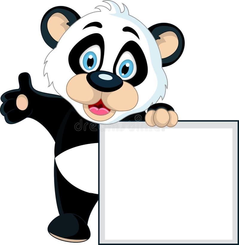 Leuk de holdings leeg teken van de Babypanda vector illustratie