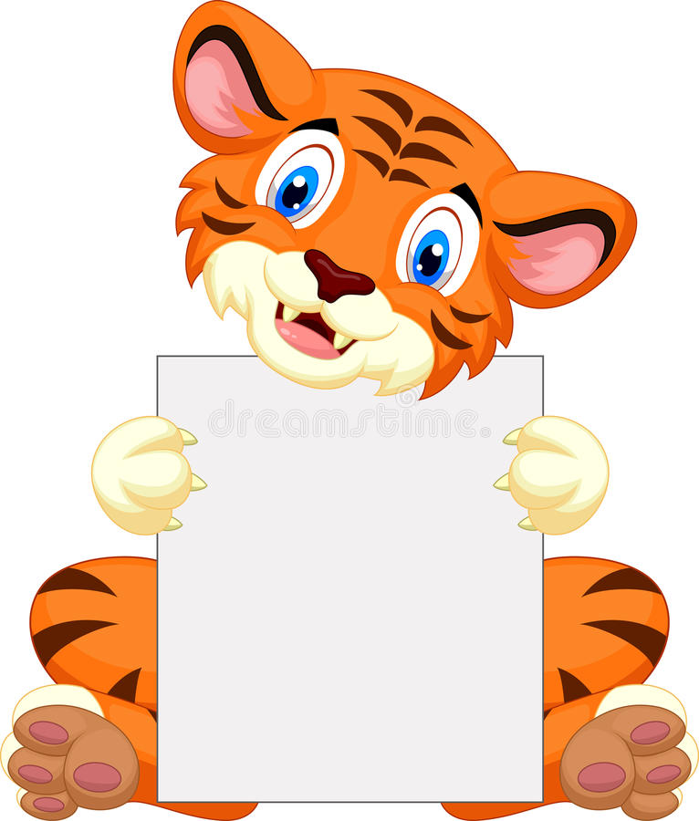 Leuk de holdings leeg teken van het tijgerbeeldverhaal stock illustratie