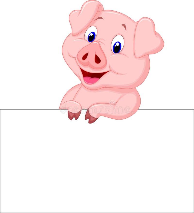 Leuk de holdings leeg teken van het varkensbeeldverhaal stock illustratie