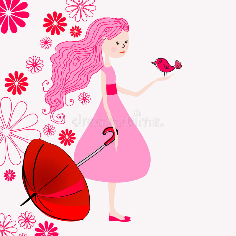 Leuk de lentemeisje royalty-vrije illustratie
