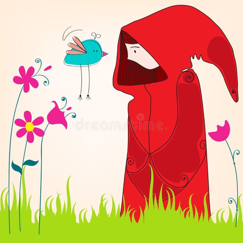 Leuk de lentemeisje met vogel stock illustratie