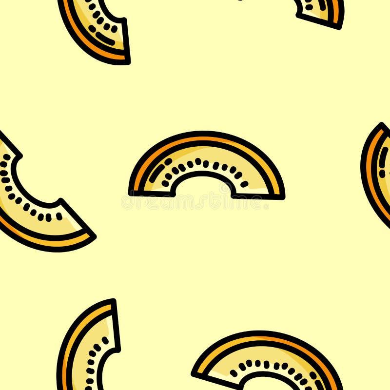 Leuk de meloen naadloos patroon van de beeldverhaal vlak stijl cantaloop vector illustratie