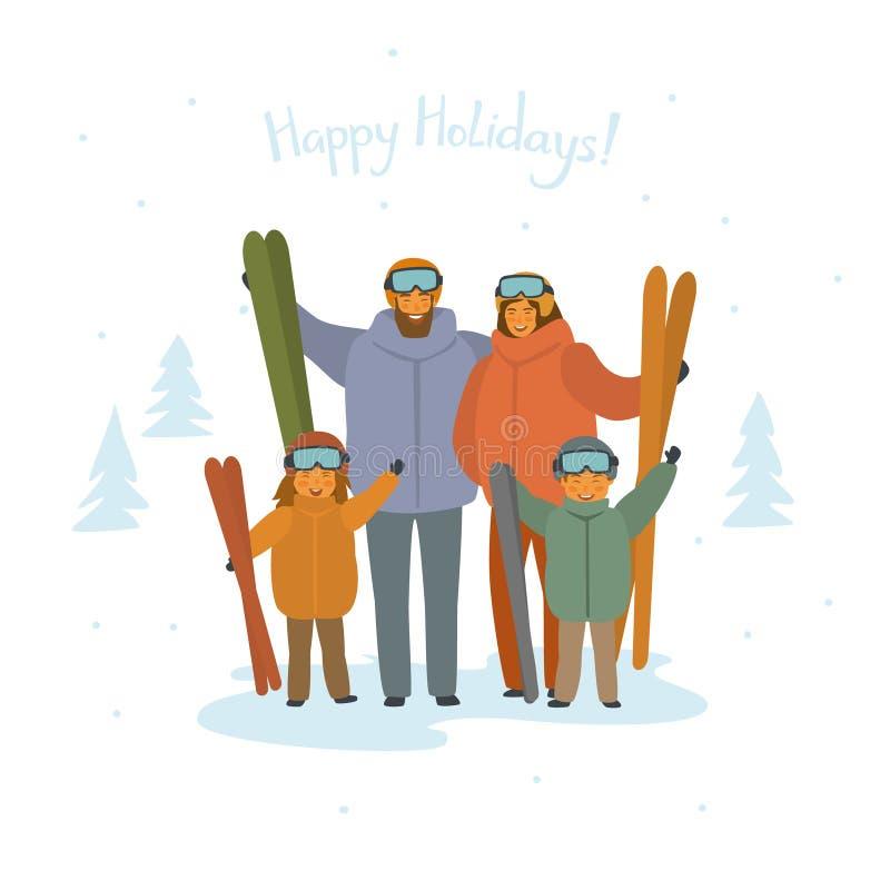Leuk de skiërsportret van de beeldverhaalfamilie, wintersporten stock illustratie