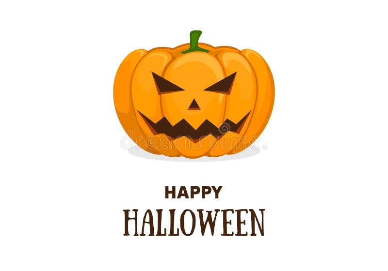 Leuk de uitnodiging of de groetkaartmalplaatje van Halloween met leuke het glimlachen oranje pompoen Vector vlakke beeldverhaalil vector illustratie
